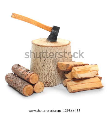 Cut log fire wood and axe. Renewable resource of a energy. Environmental concept. - stock photo