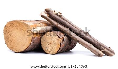 Cut logs  . Renewable  energy. - stock photo