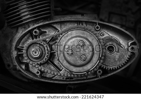 cut motor-driven chain black and white - stock photo
