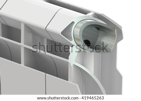 Cut of a heating radiator, 3D rendering - stock photo