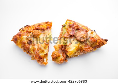 Cut off slice pizza on white background - stock photo