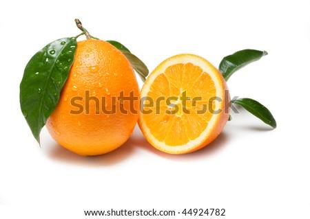 cut orange - stock photo
