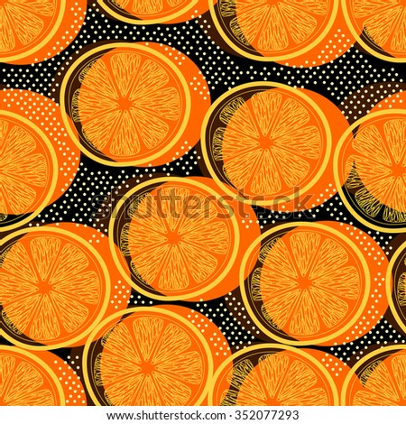 Cut orange decorative seamless retro background pattern with contour drawing. Textile and wallpaper fruit background.  - stock photo