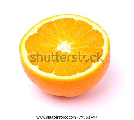 Cut orange isolated on white background - stock photo