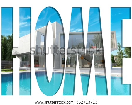 Cut out letters forming the word home with a 3D pattern of a luxurious modern mansion with pool - stock photo