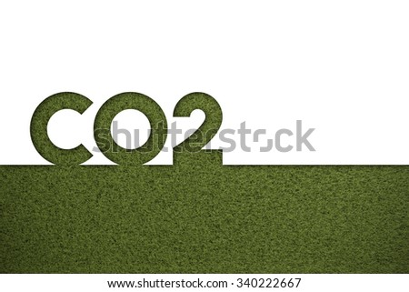 cut out of the word co2 on a grass background - stock photo
