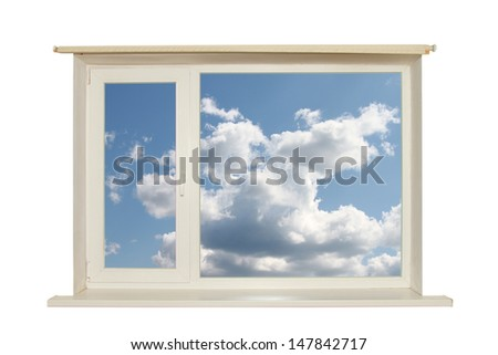 cut out window with white clouds and blue sky on white background  - stock photo