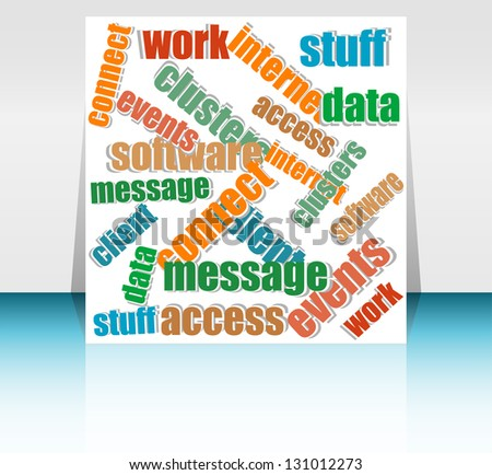 Cut pieces of paper with text keywords on social engine optimization theme, raster - stock photo