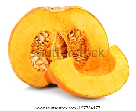 Cut pumpkin isolated on white - stock photo