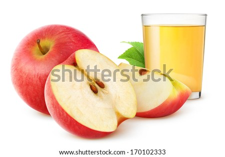 Cut red apples and glass of fresh apple juice over white background - stock photo