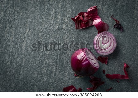 Cut red onion background - stock photo
