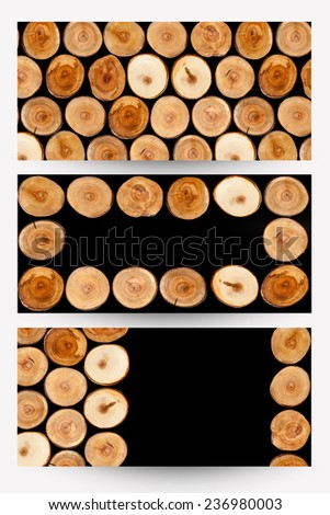 Cut tree stumps background or texture - banners - stock photo