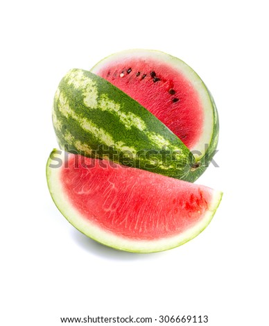 cut water melon isolated on white - stock photo