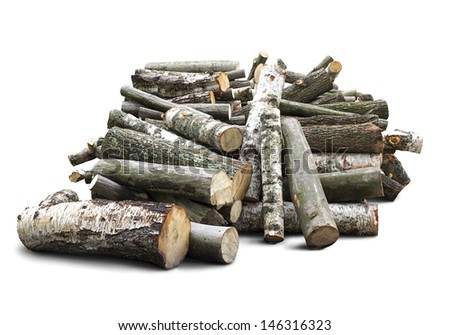 cut wooden logs with clipping path - stock photo
