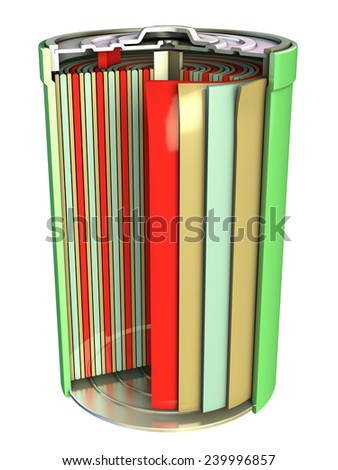 Cutaway view of a rechargeable battery. Digital illustration. - stock photo