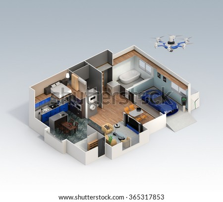 Cutaway view of smart house interior. This house supply with home battery system, energy saving appliance, and electric car. - stock photo