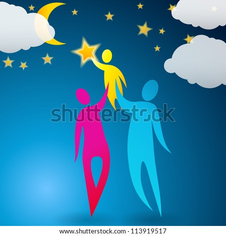 Cute, abstract illustration of a couple helping their child reach the stars - stock photo