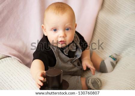 Cute adorable baby boy smiling - stock photo