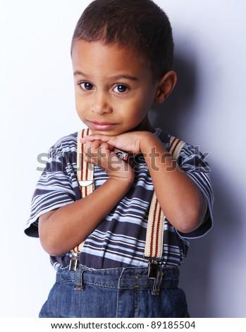 cute african american boy posing .studio shot - stock photo