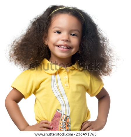Cute african american small girl smiling isolated on white - stock photo