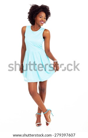cute african american woman full length portrait on white - stock photo