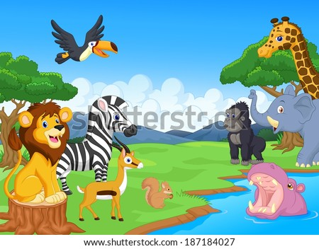 Cute African safari animal cartoon characters scene - stock photo