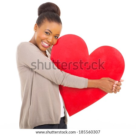 cute african woman holding red heart isolated on white - stock photo