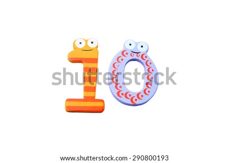 "Cute and colorful wooden number ""10"" on a white background.  Concept of back to school. Close-up shot. - stock photo"