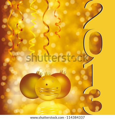 Cute and elegant card on New Year 2013 - stock photo