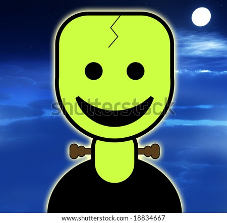 cute and friendly cartoon Frankenstein for Halloween. - stock photo