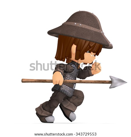 cute and funny cartoon guard. 3D rendering with clipping path and shadow over white - stock photo