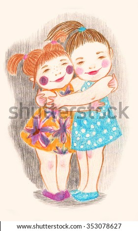 Cute and gentle illustration of two little hugging girls. Nice picture for lovely card. - stock photo