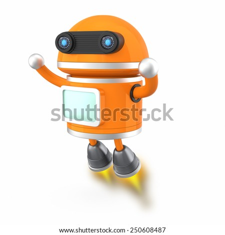 Cute android robot flying in the sky - stock photo