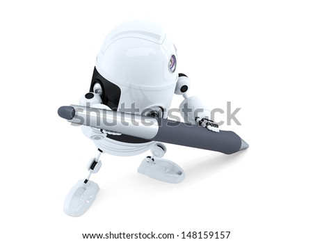 Cute android robot with pen. Isolated over white - stock photo