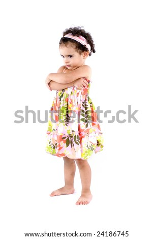Cute Angry Toddler with crossed arms . - stock photo