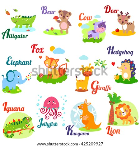 Cute animal alphabet for ABC book. Illustration of cartoon animals. A,b, c, d, e, f, g, h, i, j, k, l - stock photo
