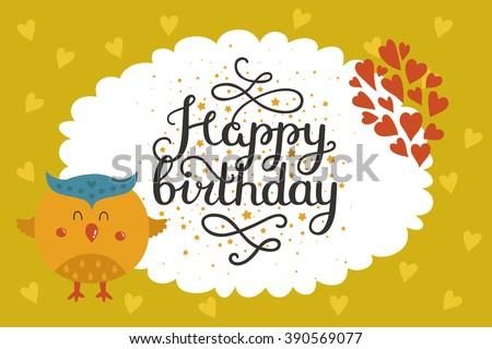 Cute animal card with owl. Happy birthday card with baby animal in love. Animal card - stock photo