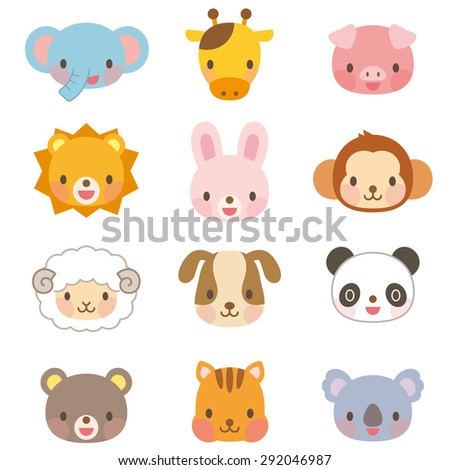 """Cute animal illustrations """"face of the 12 types"""" - stock photo"""