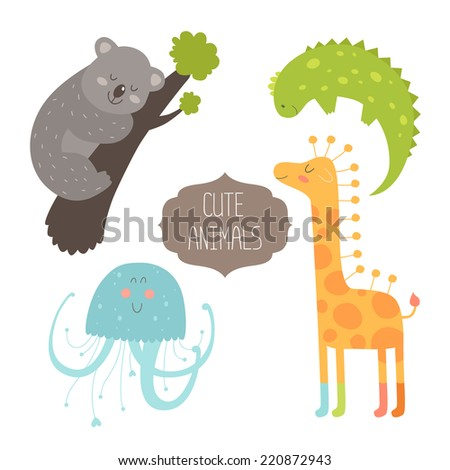 Cute animals collection. Illustration with koala, iguana, giraffe and jellyfish. Love animal isolated on white background - stock photo