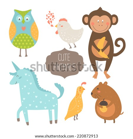Cute animals collection. Illustration with owl, hen, monkey,  unicorn, quail and vole. Love animal isolated on white background - stock photo