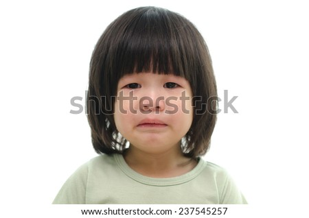 Cute asian baby crying on white background isolated - stock photo