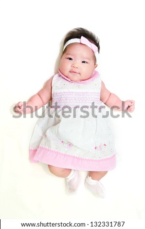 cute Asian baby  isolated on white - stock photo