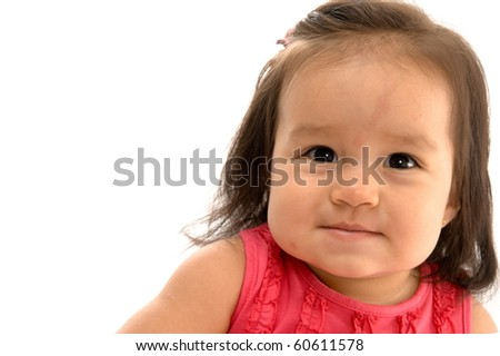 Cute asian baby smiling on white background . - stock photo