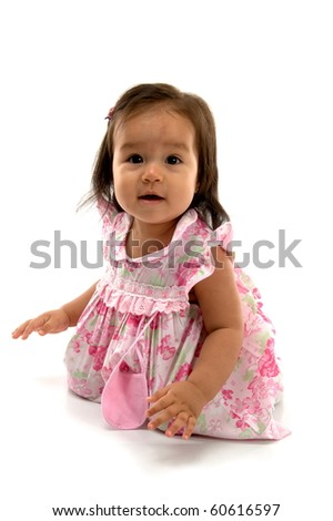 Cute asian baby smilling on white background . - stock photo