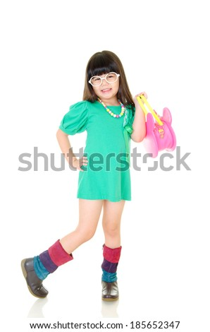 Cute asian girl posing isolated on white. kids fashion. - stock photo