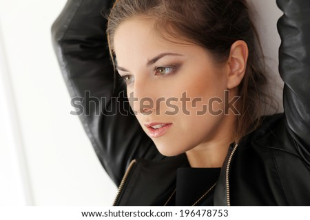 Cute, attractive girl in black dress - stock photo