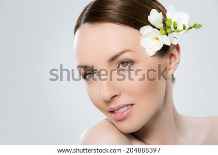 Cute, attractive girl with beautiful face - stock photo