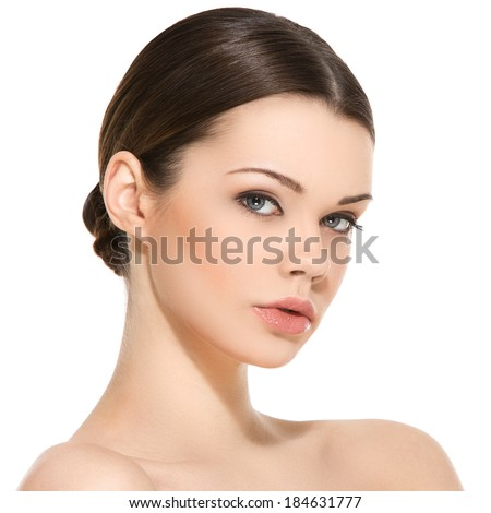 Cute, attractive woman on a white background - stock photo