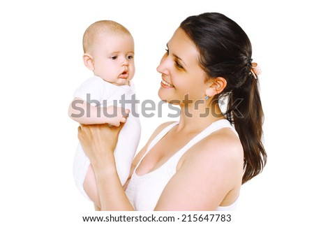 Cute baby and mother, happy family - stock photo