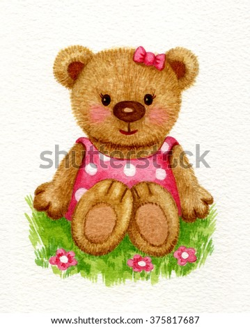 Cute baby bear girl sitting on grass, watercolor. - stock photo